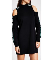 river island womens black cold shoulder rvr sweatshirt dress