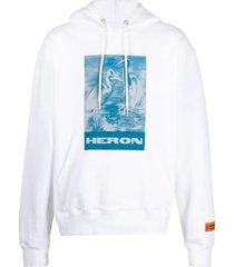 heron preston white cotton hoodie