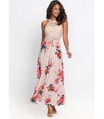 maxi jurk met bloemenprint en kant