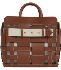 burberry small woven triple stud tote bag - brown