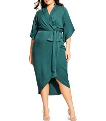 plus size women's city chic faux wrap dress, size large - green
