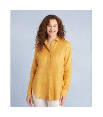 camisão manga longa linho cor: amarelo - tamanho: pp