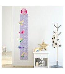 adesivo de parede quartinhos régua corujas pássaros e flores colorido