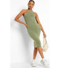 geribbelde midaxi jurk met hoge kraag, olive