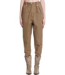 isabel marant étoile pulcie pants in khaki cotton