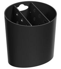 porta talher com 3 divisórias basic 14,4x13,8cm preto