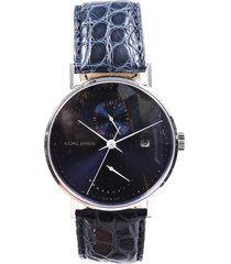 georg jensen limited edition koppel midnight blue alligator watch men's blue sz: