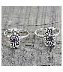 amethyst toe rings, 'dotted beauties' (pair) (india)