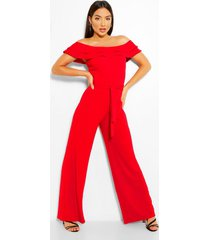 layered ruffle wide leg belted jumpsuit, red