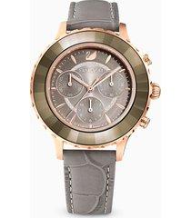 orologio octea lux chrono, cinturino in pelle, grigio, pvd oro rosa