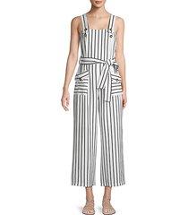 belted stripe jumpsuit