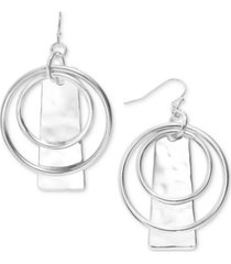 style & co circle & hammered rectangle drop earrings, created for macy's