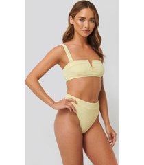 na-kd swimwear baddräkt med hög benskärning - yellow