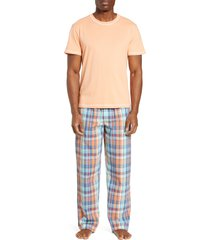 men's majestic international check mates pajamas, size xx-large - orange