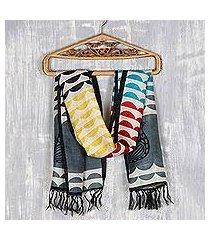 hand painted silk scarf, 'hemispheres' (india)