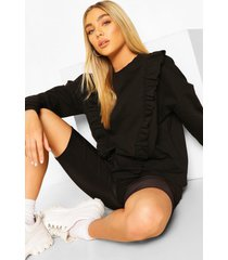 frill trim sweater, black