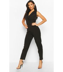 belted tailored wide leg jumpsuit, black