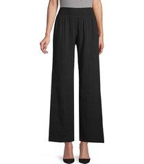 supply & demand women's wide-leg cotton pants - chambray - size m
