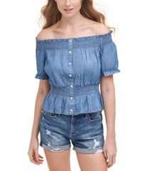 tommy jeans off-the-shoulder smocked top