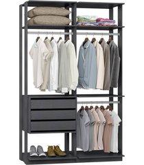 closet com 3 gavetas e 3 cabideiros espresso lilies móveis