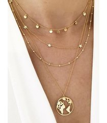 hollow map star multilayered necklace
