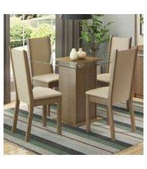 conjunto sala de jantar madesa giulia mesa tampo de vidro com 4 cadeiras rustic/crema/pérola