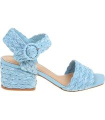 paloma barcelo sandal in braided raffia color blue