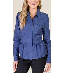 amara frayed peplum jacket - navy