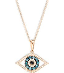 14k rose gold & multi-colored diamond eye pendant necklace