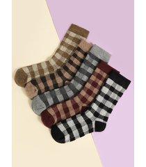 plaid calcetines con tubo medio engrosado