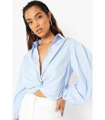 gedraaide blouse, pastel blue