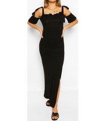 maxi-jurk met blote schouder, zwart