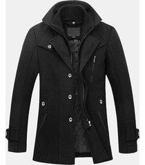 cappotto da uomo casual in lana sintetica a due pezzi