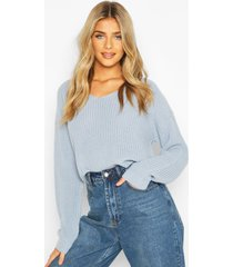 cropped fisherman v neck sweater, pastel blue