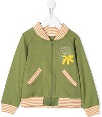 raspberry plum bananas embroidered bomber jacket - green