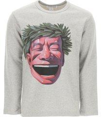 comme des garçons shirt crewneck sweatshirt with yue ninjun print