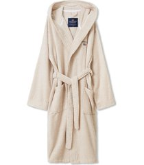 striped organic cotton-mix hoodie robe morgonrock badrock beige lexington home