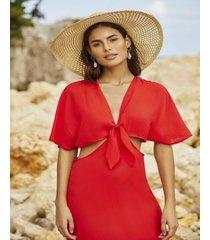 amaro feminino saida de praia vestido longo amarraã‡ãƒo, vermelho