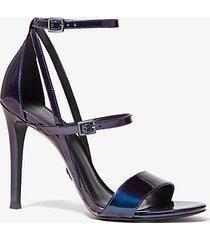 mk sandalo cardi in pelle verniciata iridescente - iridescent - michael kors