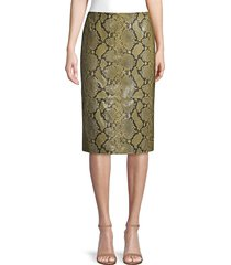 lafayette 148 new york women's casey stretch snake-print pencil skirt - sycamore green - size 2