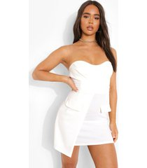 bandeau wikkel blazer jurk, white