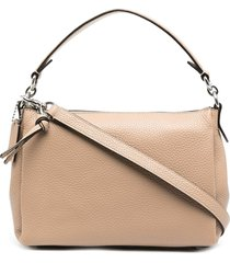 coach zip-up leather tote bag - neutrals