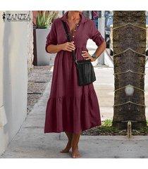 zanzea más el tamaño s-5xl mujeres gira el collar abajo largo ocasional camisa de vestir de la rodilla vestido de las señoras de -rojo