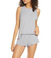 women's eberjey ruthie caravan short pajamas, size x-large - grey