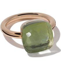 pomellato 18kt rose gold and 18kt white gold nudo maxi ring - green