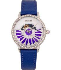 bertha quartz adaline purple genuine leather watch, 37mm