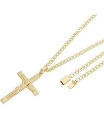 pingente crucifixo com corrente losango dupla fecho gaveta tudo joias folheado a ouro 18k dourada
