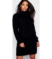 maternity soft knit roll neck sweater dress, black