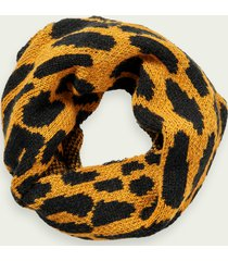 scotch & soda wool-blend chunky knit leopard scarf