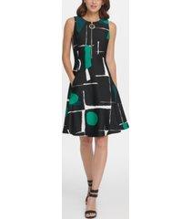 dkny abstract print zipper fit & flare dress